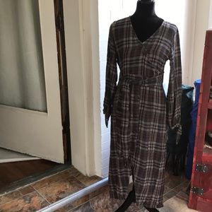Zara midi warm colored plaid dress NWT